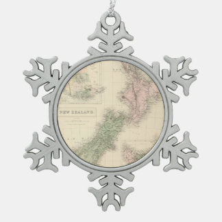 Vintage Map of New Zealand (1854) Snowflake Pewter Christmas Ornament