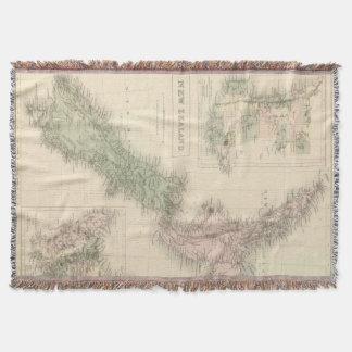 Vintage Map of New Zealand (1854) Throw Blanket