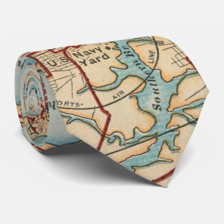 Vintage Map of Norfolk and Portsmouth VA (1919) Tie