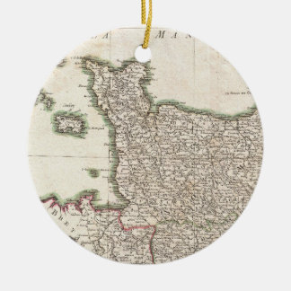 Vintage Map of Normandy (1771) Christmas Ornament