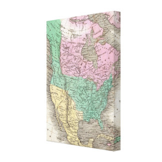 Vintage Map of North America 1827 Stretched Canvas Print