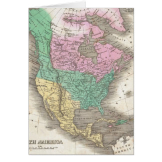 Vintage Map of North America (1827) Card