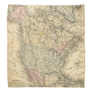 Vintage Map of North America Before Independence Bandanas