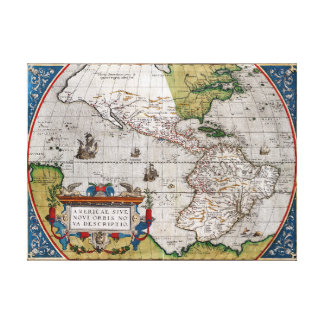 Vintage Map of North and South America 1579 Canvas Print