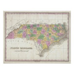 Vintage Map of North Carolina (1827) Poster