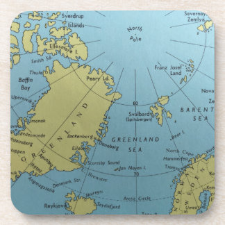 Vintage map of North Pole Beverage Coaster