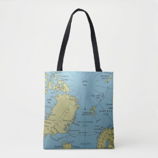 Vintage map of North Pole tote bag