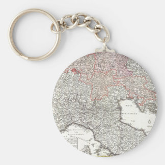 Vintage Map of Northern Italy (1720) Basic Round Button Key Ring