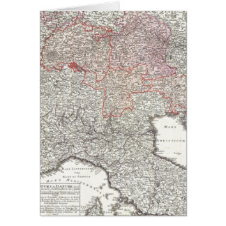 Vintage Map of Northern Italy 1720 Greeting Card