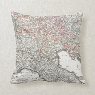 Vintage Map of Northern Italy (1720) Throw Pillow