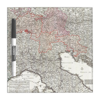 Vintage Map of Northern Italy (1720) Dry Erase Whiteboard