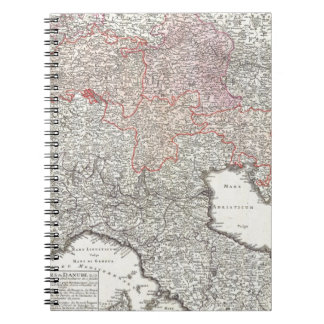 Vintage Map of Northern Italy 1720 Notebook