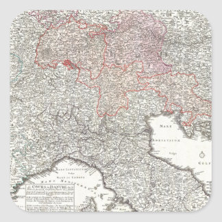 Vintage Map of Northern Italy (1720) Square Sticker