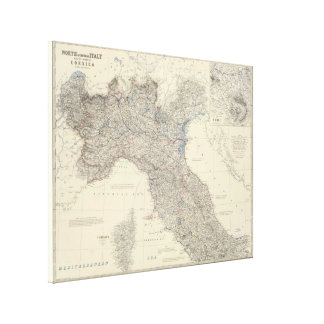 Vintage Map of Northern Italy (1861) Canvas Prints