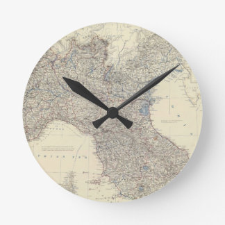 Vintage Map of Northern Italy 1861 Round Wallclock