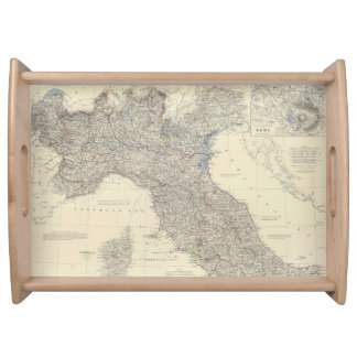 Vintage Map of Northern Italy (1861) Service Tray