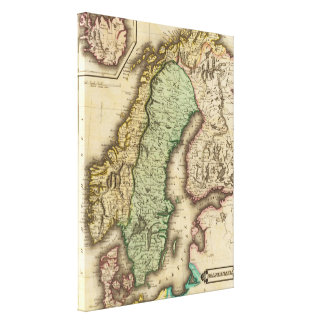Vintage Map of Norway and Sweden (1831) Canvas Print