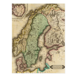 Vintage Map of Norway and Sweden (1831) Postcard
