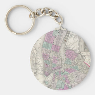 Vintage Map of NYC and Brooklyn (1866) Key Ring