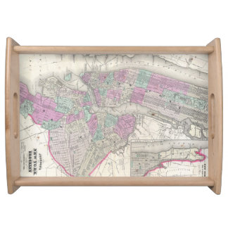 Vintage Map of NYC and Brooklyn (1866) Serving Tray