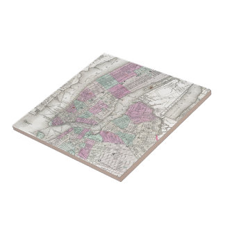 Vintage Map of NYC and Brooklyn (1866) Tile