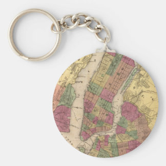 Vintage Map of NYC and Brooklyn (1868) Basic Round Button Key Ring