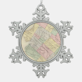 Vintage Map of Oakland California (1878) Snowflake Pewter Christmas Ornament