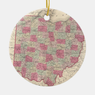 Vintage Map of Ohio (1864) Christmas Ornament
