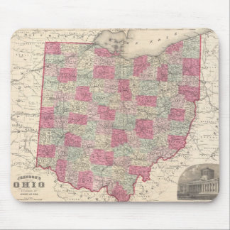 Vintage Map of Ohio (1864) Mouse Mat
