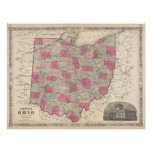 Vintage Map of Ohio (1864) Poster