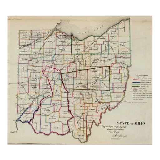 Vintage Map of Ohio (1866) Poster