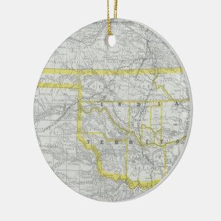 Vintage Map of Oklahoma (1889) Christmas Ornament