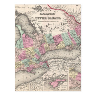 Vintage Map of Ontario (1857) Postcard