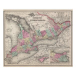 Vintage Map of Ontario (1857) Poster