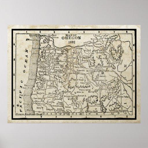 Vintage Map of Oregon Poster