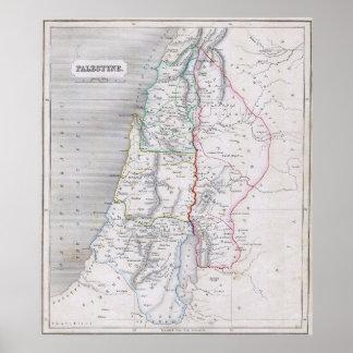 Vintage Map of Palestine (1845) Poster