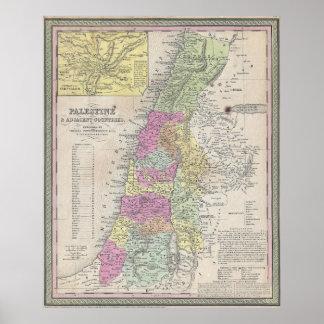 Vintage Map of Palestine (1853) Poster