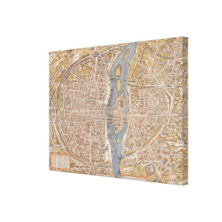 Vintage Map of Paris (1550) Canvas Print