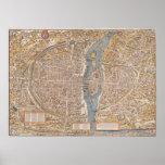 Vintage Map of Paris (1550) Poster