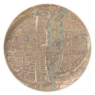 Vintage Map of Paris (1575) Plate
