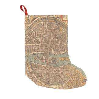 Vintage Map of Paris (1575) Small Christmas Stocking