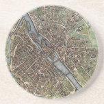 Vintage Map of Paris (1657) Beverage Coaster