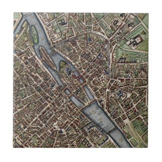 Vintage Map of Paris (1657) Tile