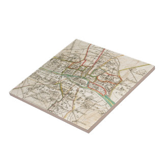 Vintage Map of Paris (1678) Tile