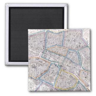 Vintage Map of Paris (1865) Magnets