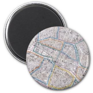 Vintage Map of Paris (1865) 6 Cm Round Magnet