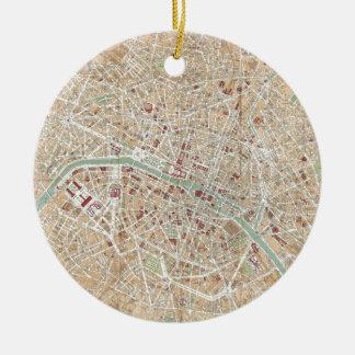 Vintage Map of Paris (1892) Christmas Ornament
