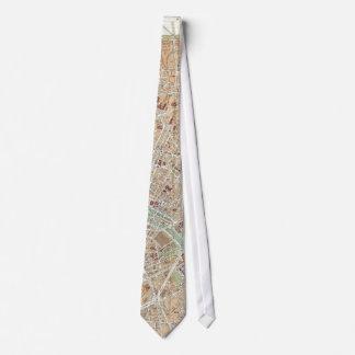 Vintage Map of Paris (1892) Tie