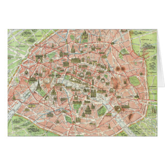 Vintage Map of Paris (1920) Card