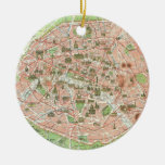 Vintage Map of Paris (1920) Round Ceramic Decoration